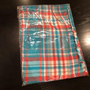 Plaid Blanket Scarf in Teal & Orange, NEW in pkg